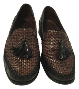 Cole Haan Brown & black woven leather country Flats