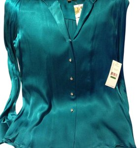 Karen Kane Button Down Shirt teal