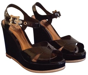 Carlos by Carlos Santana Patent Leather Leather Black Wedges