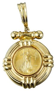Gold Pendant 22k Liberty Gold Coin On 14K Gold Holder Pendant