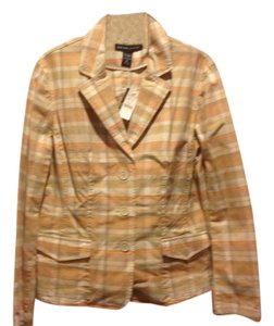 New York & Company Co Peach / white plaid. Womens Jean Jacket