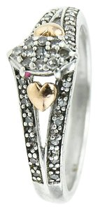 Diamonds cluster ladies silver and rose gold hearts ring