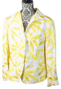 Lafayette 148 New York Linen Embroidery Yellow & White Blazer