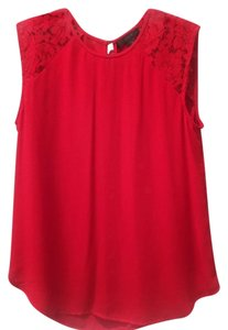 J.Crew Lace Lace Trim Top Bright Red
