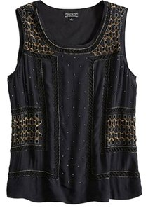 Lucky Brand Night Out New Top Black, Gold
