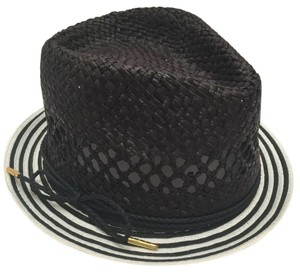 Laundry by Shelli Segal Open Weave Black And White Straw Hat