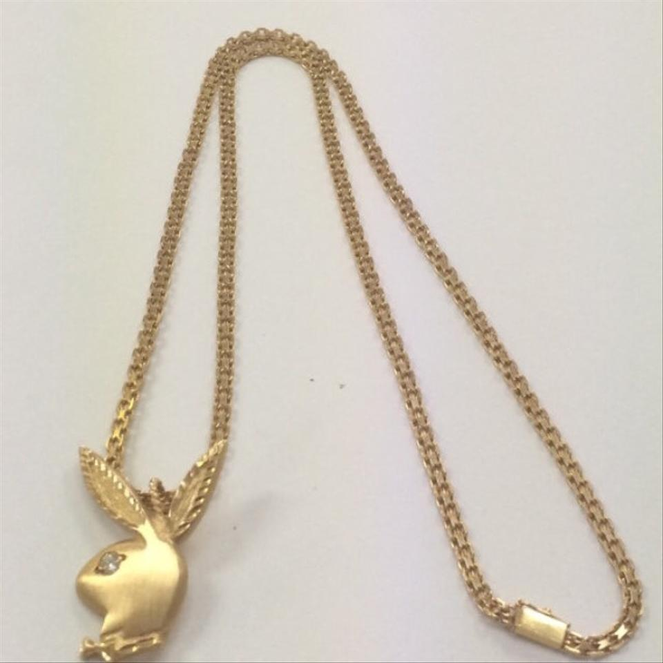 Playboy yellow gold heavy solid bunny necklace tradesy aloadofball Image collections