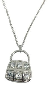 Other Rhodium Sterling Silver Purse Necklace
