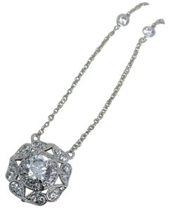 Rhodium Plated Sterling Silver CZ Flower Necklace