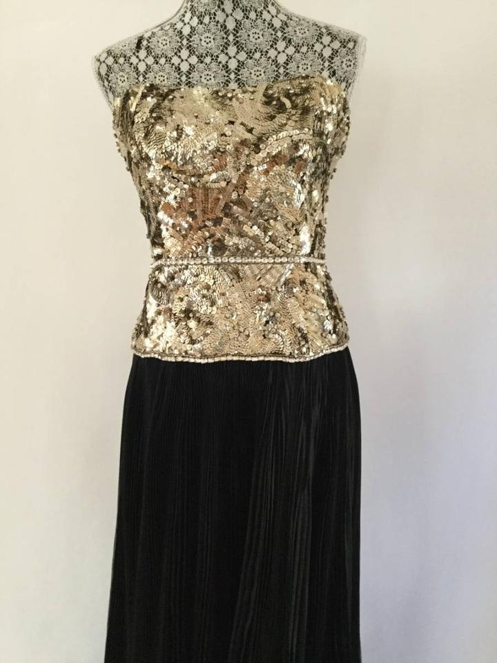 b581ec3f4d Marchesa Black / Gold Couture Strapless Jeweled Silk Gown Long ...