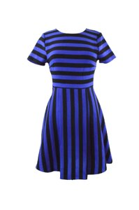 Everly short dress Royal Blue/Black Anthropologie Modcoth Striped Flare Mod on Tradesy