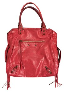 Balenciaga Leather City Tote in Red