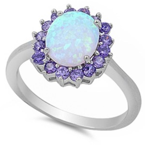 9.2.5 stunning opal and amethyst princess cocktail ring size 9