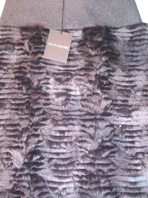 TER ET BANTINE Fox Fur Mink Skirt Grey/Dark Brown