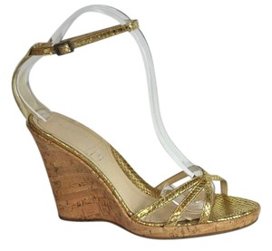 Via Spiga Leather Cork Sandals Size 7.5 M Gold Wedges