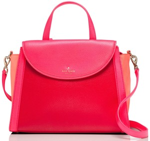 Kate Spade Hill Large Adrien Satchel in Crab Red / Coral sunset / Parrot Feather