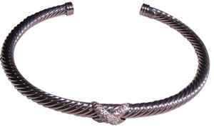 David Yurman 4mm silver Cable w/ pave diamond 'X' cuff bracelet medium size