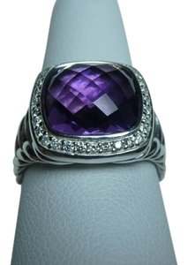 David Yurman 11mm Albion Ring with Amethyst and Diamonds size 7