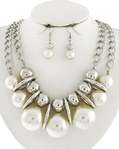 DaVinci Bridal Silver & White Synthetic Pearl Necklace and Earrings