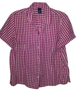 Basic Editions Plus Checkered Xl Short Sleeve Top Pink & White