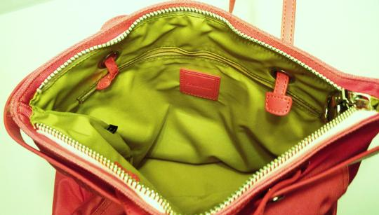 Cole Haan Leather Nylon Green Expandable Shoulder Bag