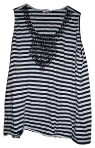 Avenue Boho Goth Stripes Lace Top Black and White