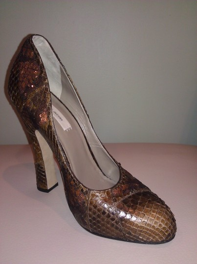 Marc Jacobs Crocodile Leather Sequin Leather Brown Pumps Image 1