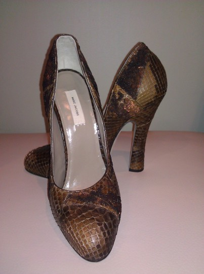 Marc Jacobs Crocodile Leather Sequin Leather Brown Pumps