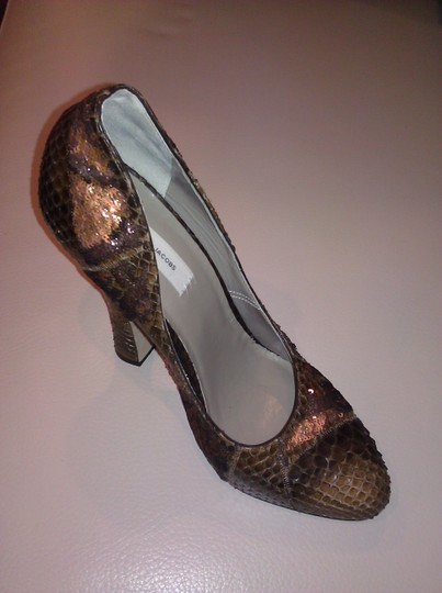 Marc Jacobs Crocodile Leather Sequin Leather Brown Pumps Image 6