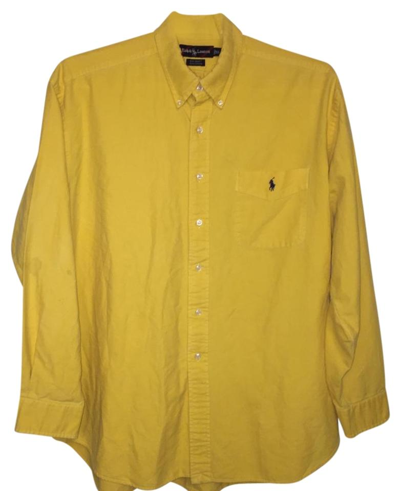 9af97c34b886b Polo Ralph Lauren Yellow Men s Long Sleeve Big Shirt Cotton Button ...
