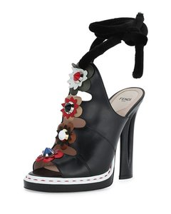 Fendi Open Toe Calf Leather Studded Floral Self-tie Ankle-wrap Made In Italy Nero/Multi Sandals