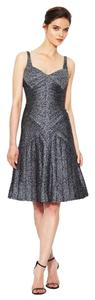 Zac Posen Pleated Scale Sheath Silk Dress