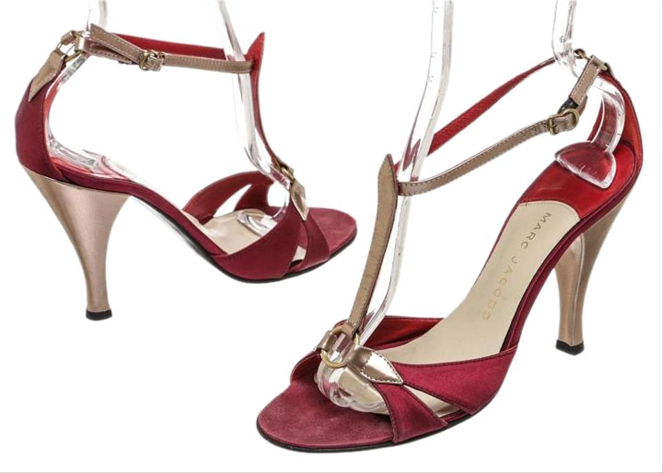 Marc Jacobs Red/Multicolor Leather Open Open Open Satin 38) 52530 Sandals b63ee2