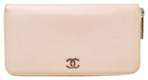 Chanel Chanel Pink Caviar Zip Around Wallet
