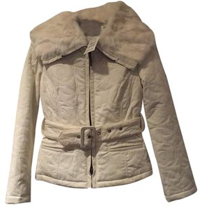 bebe Rabbit Fur Trim Quilted Winter White Jacket