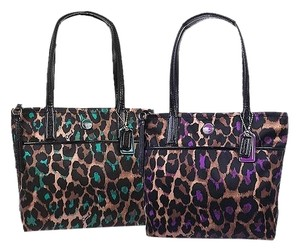 9a58b3d21 Added to Shopping Bag. Coach Ocelot New Animal Print Rare Tote in Jade or  Violet