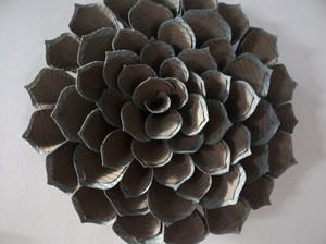 Two Tone Lotus Flower Wall Sculpture: Blue Brown ~ 15