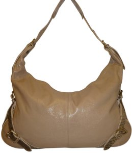 Pulicati Refurbished Leather X-lg Cream Hobo Bag