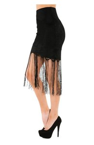 Wow Couture Fringe Mini Skirt Black
