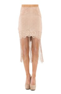 Wow Couture Fringe Mini Skirt Sand