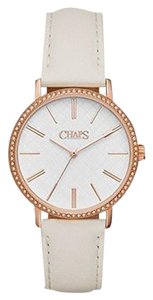 Chaps Chaps Women's Whitney White Leather Three-Hand Watch CHP1000