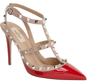 Valentino Rockstud Pink Poudre Nude red Pumps