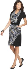 Alfani short dress black Faux Wrap Printed on Tradesy