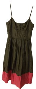 Trina Turk short dress Army Green & Pink Cotton & Silk on Tradesy