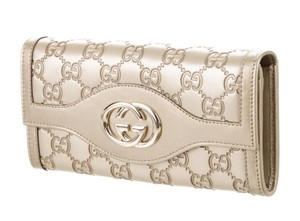 Gucci Gold metallic Guccissima leather Gucci Sukey wallet