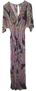 Multicolor Maxi Dress by Cristinalove Silk Polyester Free Shipping