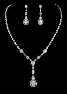 Vintage Inspired Silver Plated Cz Wedding Jewelry Set