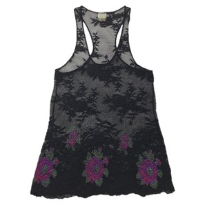 Free People Embellished Lace Detail Fall Top BLACK/ MULTI