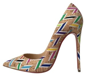 Christian Louboutin So Kate Cork Chevron Nude Multicolor Pumps