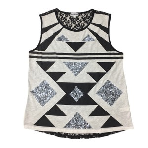 Express Sequin Cotton Lace Fall T Shirt BLACK/ WHITE/ SILVER